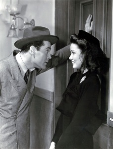 "Henry Fonda and Gene Tierney gaze at one another in ""Rings on Her Fingers"" (1942)"