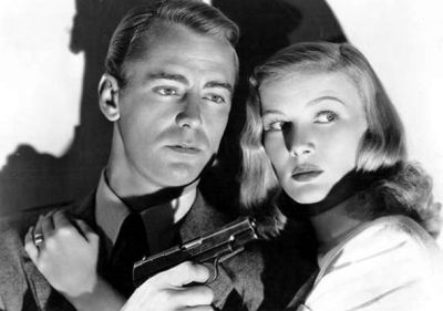 "Alan Ladd and Veronica Lake in the film, ""This Gun for Hire."" 1942"
