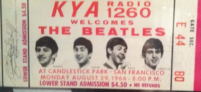 "In 1966, $4.50 bought you a ticket to a Beatles concert. The Candlestick Park, San Francisco, would be their last official concert. The 11-song set included hits such as  ""She's a Woman,"" ""Day Tripper,"" ""I Feel Fine,"" ""Yesterday,"" and ""Paperback Writer."""