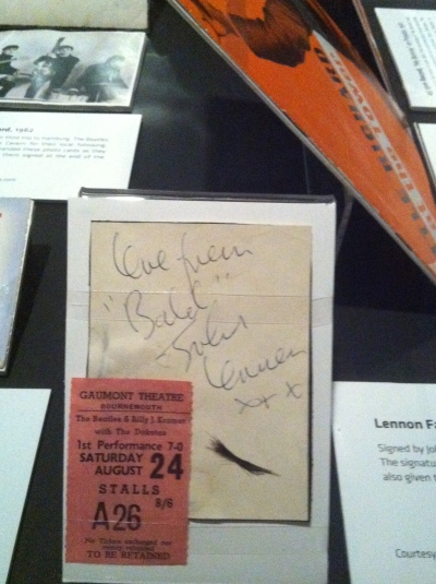 John Lennon's autograph with lock of hair