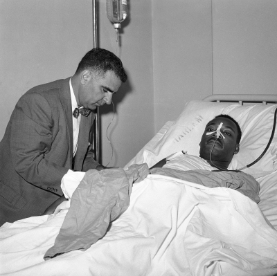 Surgeons performed a delicate 2 1/4 hour surgery to extract the letter opener from Dr. Martin Luther King's manubrium, the top bone of the sternum. September 20, 1958