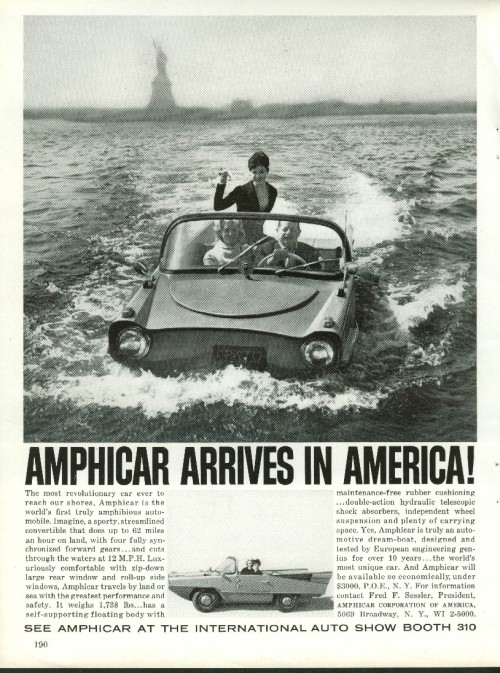 ad Amphicar arrives in America 196o New York Automobile Show Program